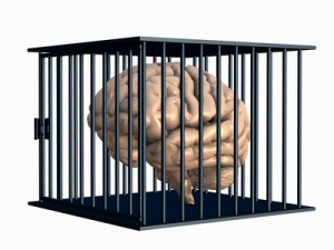 brain trapped in cage.
